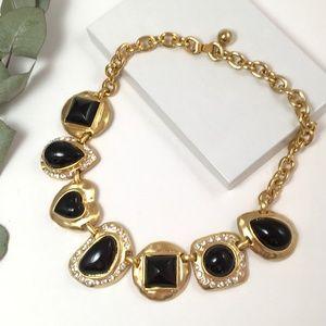 VTG 80's Black Enamel and Rhinestone Bib Necklace